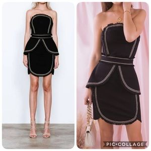 Elliatt Euphoria Strapless Fringe Mini Dress NWT